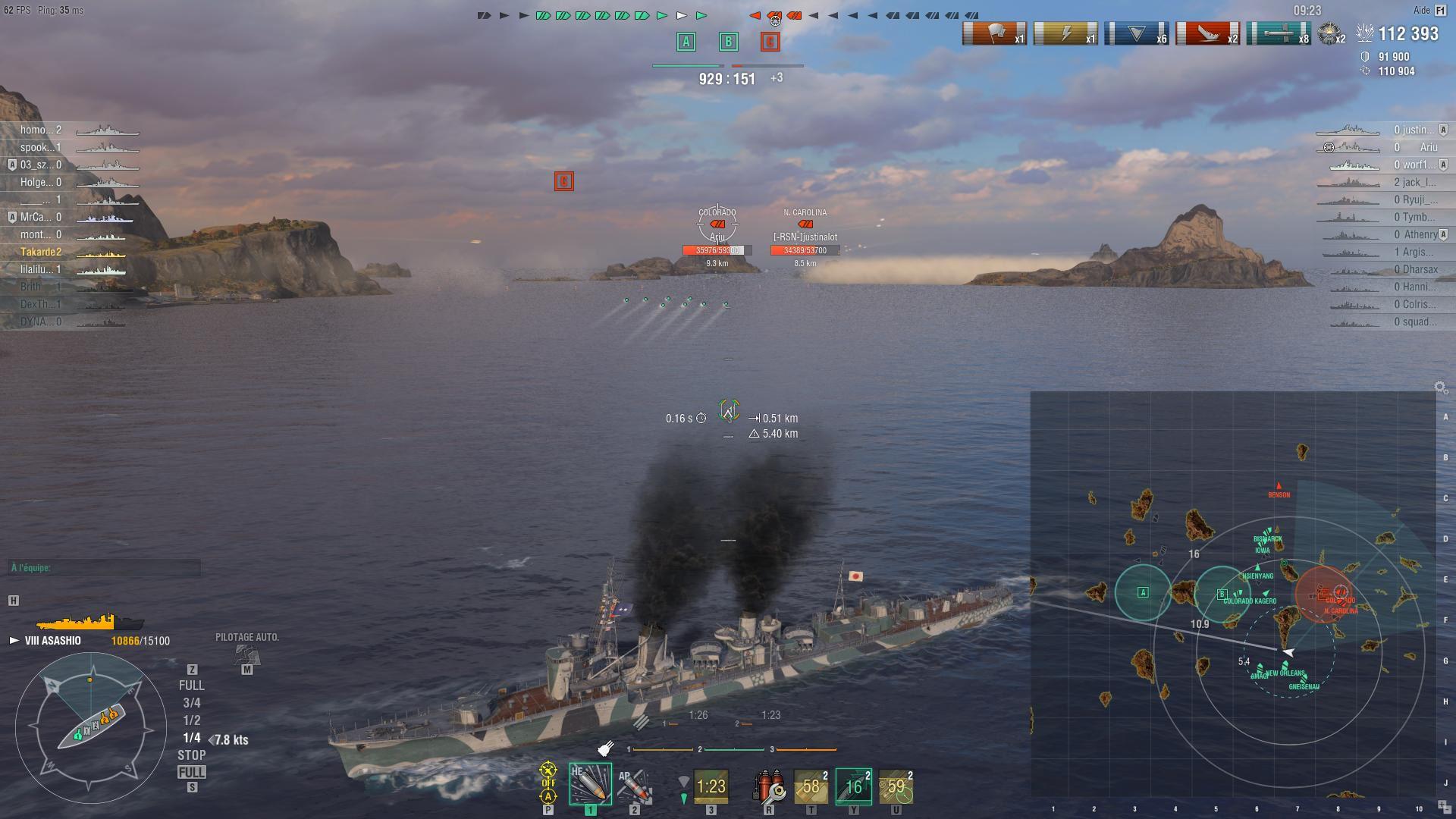 Asashio tirant ses torpilles sur des cuirassés